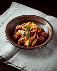 Pappardelle Pasta with Meatballs
