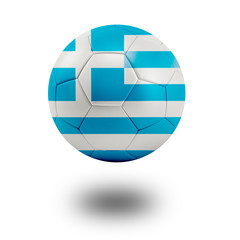 Soccer ball with Greece flag isolated in white