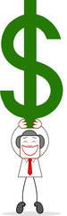 Cartoon Businessman Holding up Dollar