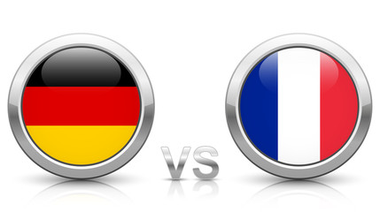 Germany vs. France - icons buttons with national flags