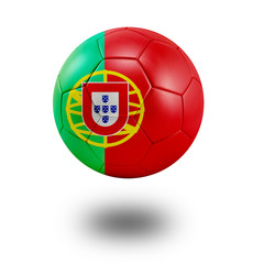 Soccer ball with Protugal flag isolated in white