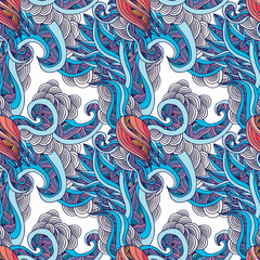 Marine world - vector seamless pattern
