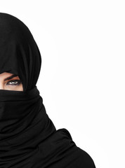 Half girl wearing a burqa