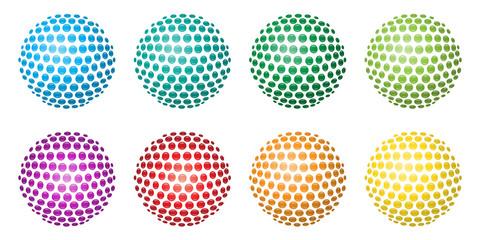 Bunte, glänzende 3D-Kugeln aus Kreisen – Set