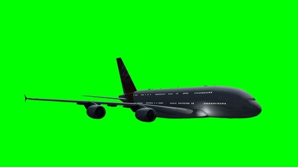 Airplane Airbus A380 flight at night - green screen