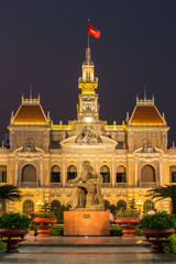 The City Hall in Ho Chi Minh City, Vietnam at night