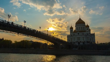 Cathedral of Christ the Saviour and Patriarshy Bridge in Moscow