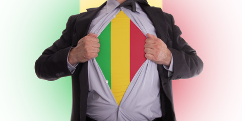 Business man with Mali flag t-shirt