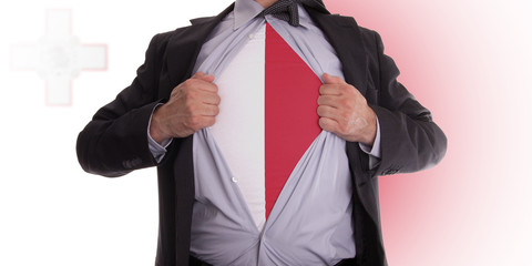 Business man with Malta flag t-shirt