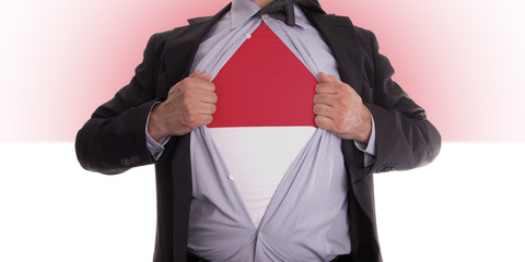 Business man with Monaco flag t-shirt