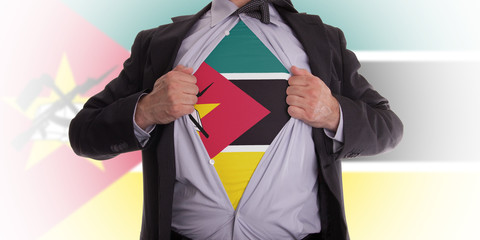 Business man with Mozambique flag t-shirt