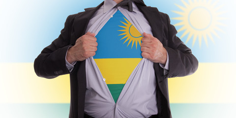 Business man with Rwanda flag t-shirt