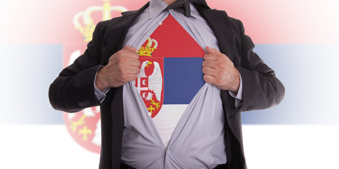Business man with Serbia flag t-shirt