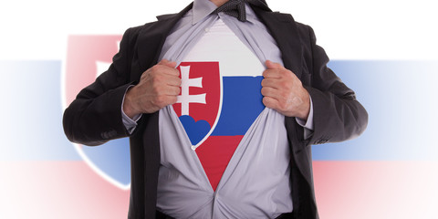 Business man with Slovakia flag t-shirt