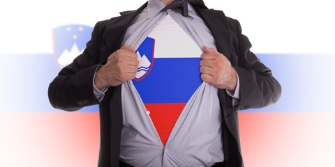 Business man with slovenia flag t-shirt