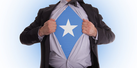 Business man with Somalia flag t-shirt