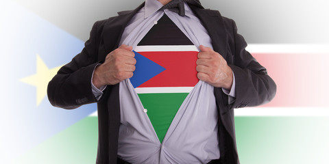 Business man with South Sudan flag t-shirt