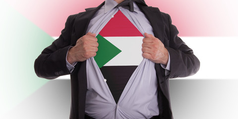 Business man with Sudan flag t-shirt