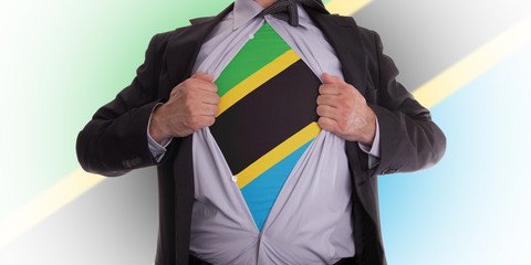 Business man with Tanzania flag t-shirt