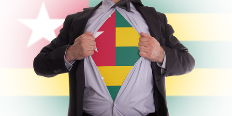 Business man with Togo flag t-shirt