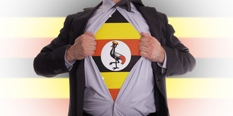 Business man with Uganda flag t-shirt