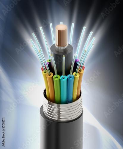 canvas print picture Fiber optical cable detail