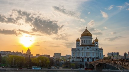 Sunset against the Cathedral of Christ the Saviour, Moscow, Russ