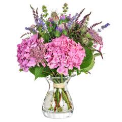 Blumenstrauß mit Kräutern und Hortensie