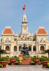 The City Hall in Ho Chi Minh City, Vietnam at night