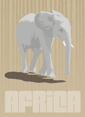 African Elephant walking. Vector Poster Design.