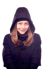 Teen girl dressed in coat
