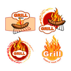 Set of labels with grill