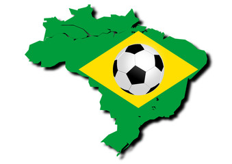 football With Flag of Brazil.- 3d image