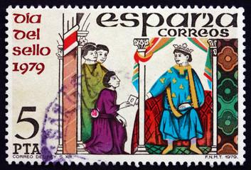 Postage stamp Spain 1979 Messenger Handing Letter to King
