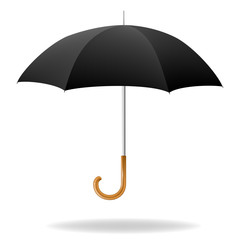 Realistic black umbrella. Vector illustration