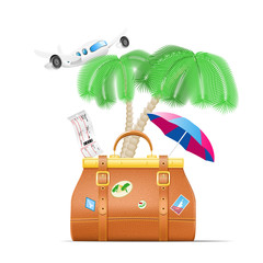 Travel vector set. Travelling bag, plain, palm and umbrella.