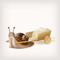 Snail with the cart with mail. Vector illustration.