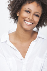 Mixed Race African American Woman Girl in White Shirt