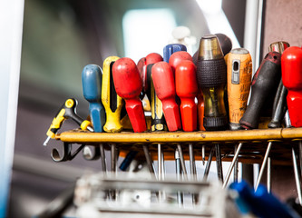 Assortment of tools in mechanic garage car service