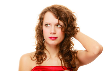 Portrait pretty thoughtful woman curly hair isolated