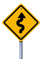 Road sign winding road