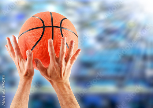canvas print picture Hands catching basketball