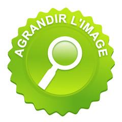 agrandir l'image sur bouton web denté vert