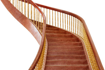 Wooden staircase isolated on white