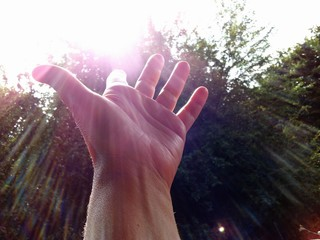 Hand takes the sun