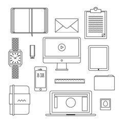 Flat design thin line icons set