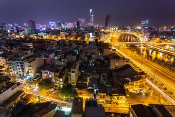 Night view of Saigon traffic along the river, Ho Chi Minh City,