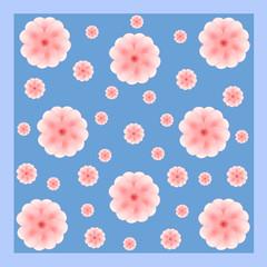 Rosa Blumen auf blau