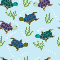 Seamless pattern with turtles.