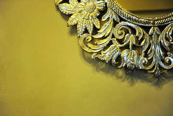 Decorative detail, mirror with silvery frame